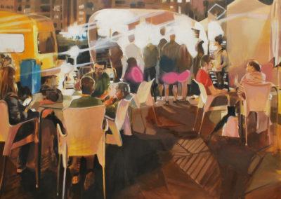 FUE AQUELLA NOCHE CUANDO ALGO CAMBIO SU VIDA | Oil, acrylic and spray on canvas | 125x130 cm