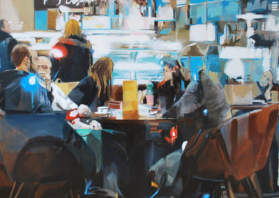 KAFFEEPAUSE | Oil and spray on canvas |145x145cm