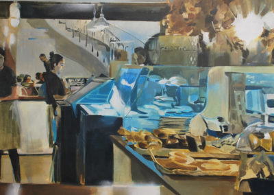 UNA CAFÉ CON LECHE EN MADRID | Oil and Spray on Canvas |100x81cm